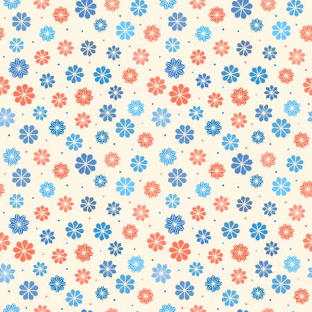 roll curtains: Seamless floral pattern, vector background in pastel colors for children clothes