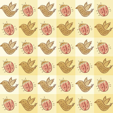 Seamless pattern with doodle beetle and bird, vector background texture Vector