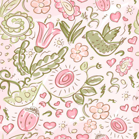 Seamless pattern with doodles bird and flowers, vector background texture Vector
