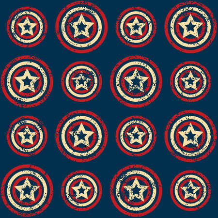 Seamless pattern with scratched stars in retro colors of the American flag on grunge textured background Vector