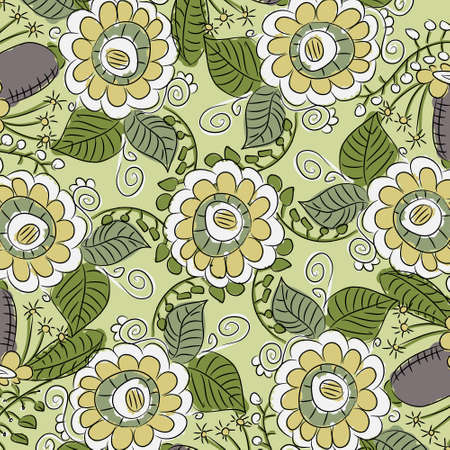 fancywork: Ornamental lace pattern with abstract flowers and leaves on green background Illustration