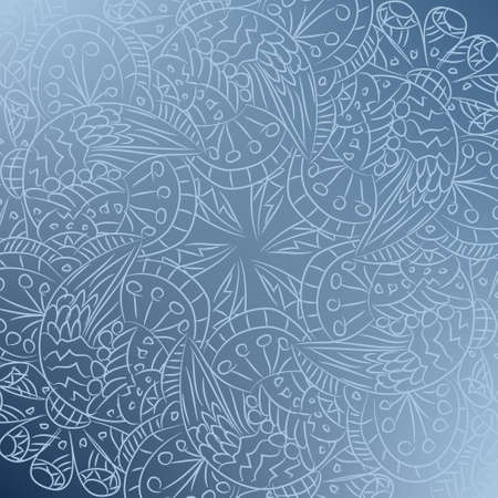 greating card: Ornamental round lace pattern with abstract flowers and wings. Background texture in blue colors