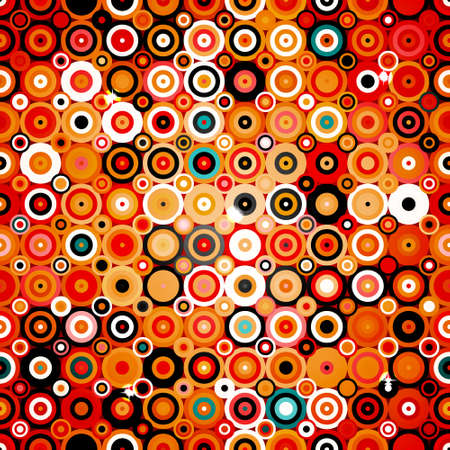 Abstract geometric pattern with dots and circles in disco style, background texture wallpaper in warm colors Vector