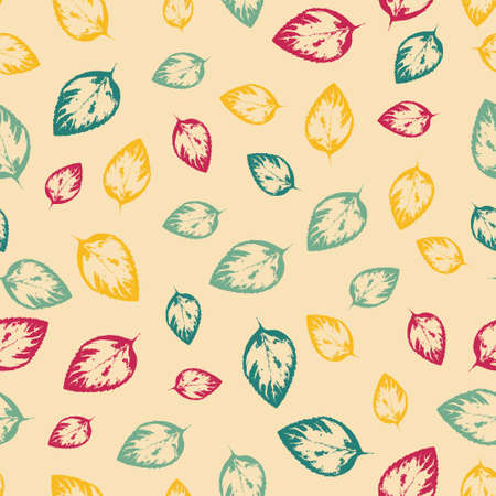 yelow: Abstract seamless pattern with colorful leaves on yelow background