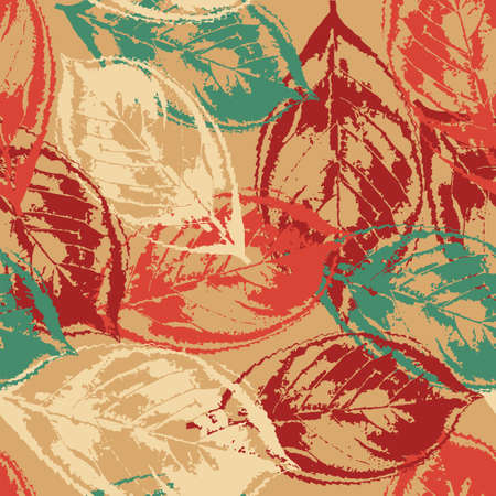 Seamless grunge pattern with colorful leaves on warm background Vector