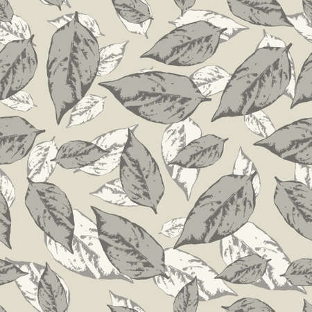 Seamless pattern with leaves in pastel colors on a gray background Vector