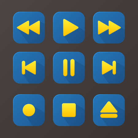 Media player buttons set, design elements for phone and computer, vector illustration Vector