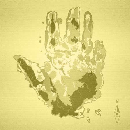 Old map of the island in the shape of a palm hand on the yellowed textured paper Vector