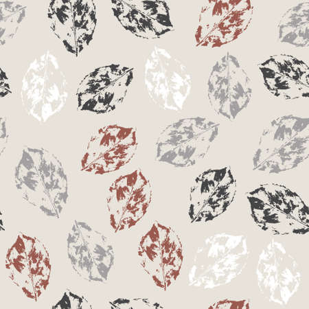 Seamless pattern with fallen leaves on bright background Vector