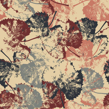 Seamless pattern texture with fallen leaves on light background Vector