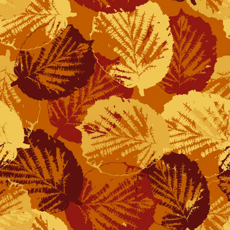 Seamless pattern texture with fallen leaves on warm background Vector