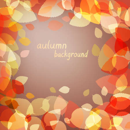 Colorful autumn brown leaves on dark background Vector
