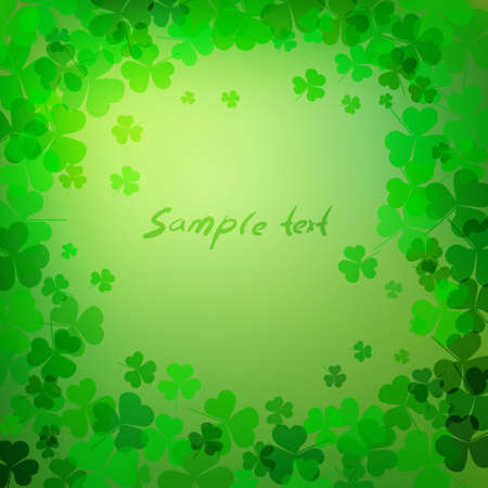 Background with green clover leaves with space for text