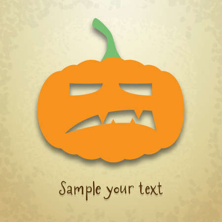 Halloween greeting card with angry pumpkin and place for your text on grungy background Vector