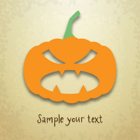 Halloween greeting card with evil pumpkin and place for your text on grungy background Illustration
