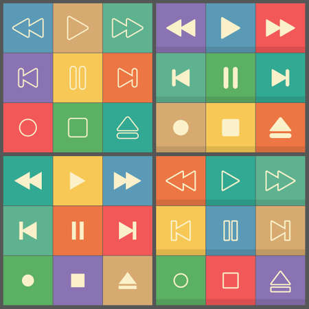 Icons set control buttons for flat UI media player Vector