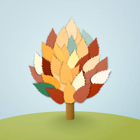 Abstract vector tree with colorful leaves on blue background Vector