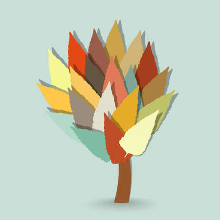 cold background: Abstract vector tree with colorful leaves on cold background Vettoriali