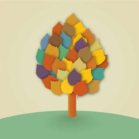 Abstract vector tree with colorful leaves in the meadow Vector