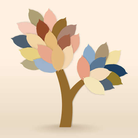 Abstract vector tree with colorful leaves on warm background Vector