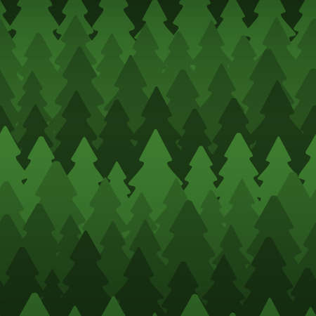 Seamless pattern with dense fir trees on dark background Vector