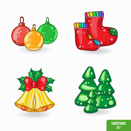 Set of Christmas cartoon icons, vector illustration for your design on white background Vector