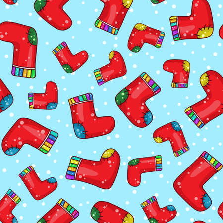 Seamless background pattern with cartoon socks, vector illustration Vector