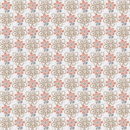 Seamless pattern with flowers on a white background Vector