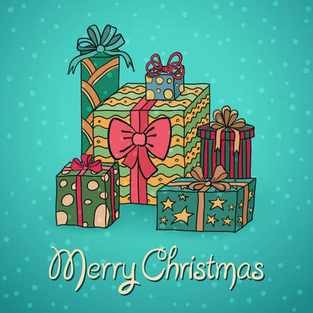 Set of cartoon Christmas gifts, vector illustration Vector