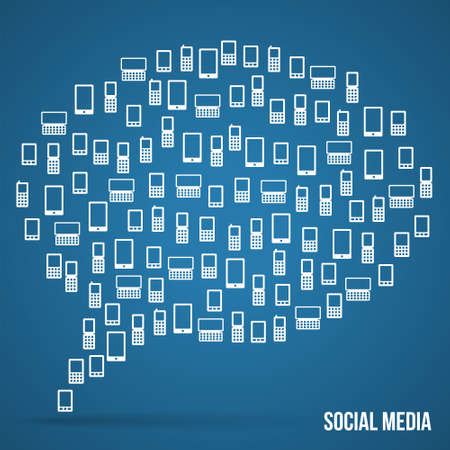 Bubble made from icons phones, social media design Vector