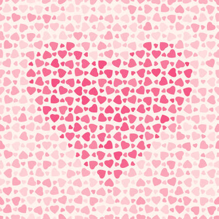 Seamless abstract pattern with red hearts on light background, vector illustration Vector