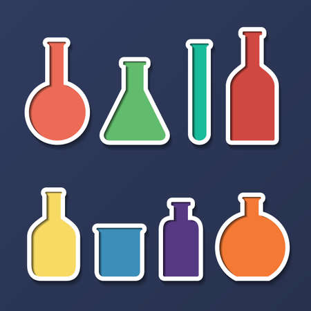 Chemical tubes icons set.  Vector