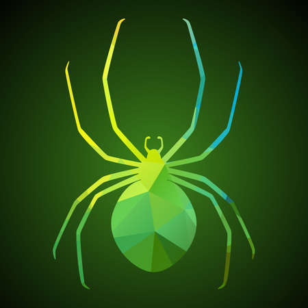 Spider of triangles. Vector illustration flat icon for your halloween party design. Vector