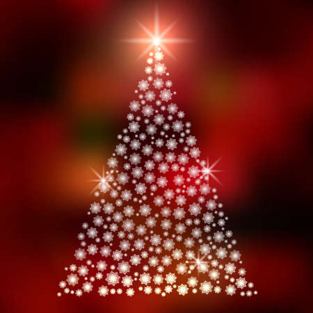 Christmas background with Christmas tree, vector illustration. Vector