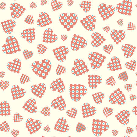 Seamless pattern with applique hearts. Vector background Vector