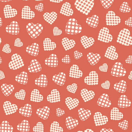 applique: Seamless pattern with applique hearts. Vector background