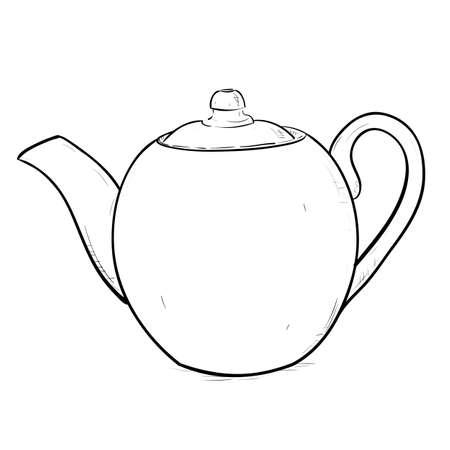 dinnerware: Vector sketch illustration of teapot