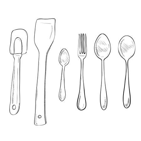 Vector sketch hand drawn illustration of kitchen utensils Vector