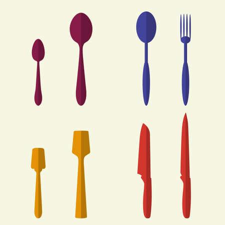 cookware: Utensilios de cocina y los iconos planos Juego de utensilios. Estilo de dise�o Colecci�n moderna ilustraci�n vectorial s�mbolo. Vectores