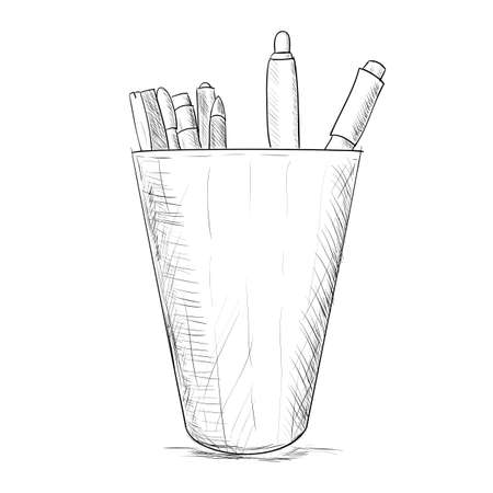 pencil case: Hand drawn sketch pencil case. Vector illustration Illustration