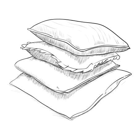 Hand drawn sketch of pillows. Vector illustration Vector