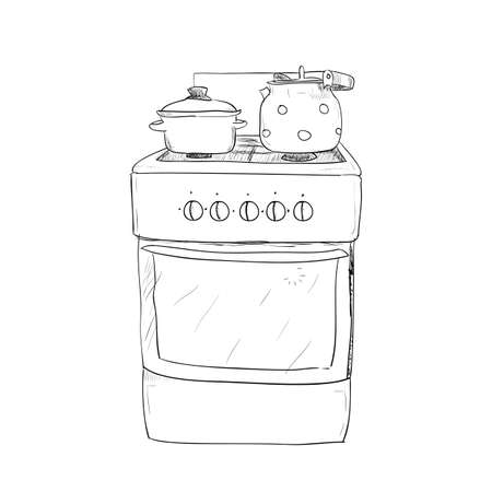 shifter: Hand drawn sketch of kitchen stove with kettle and pan Illustration