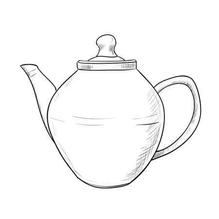 dinnerware: Vector sketch of teapot. Hand draw illustration. Illustration