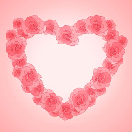 Invitation cards with roses in shape of heart. Vector illustration Vector