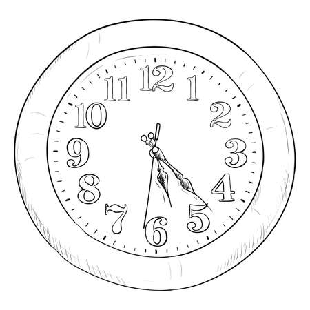 Vector sketch of clock. Hand draw illustration. Vector