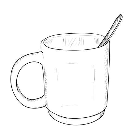 Vector Sketch Of A Glass Cup With A Spoon. Hand Draw Illustration ...