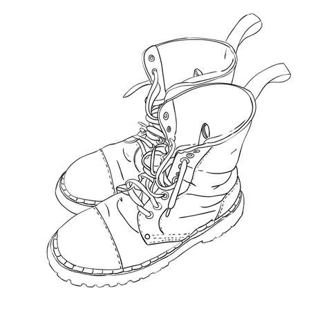 foot soldier: Hand drawn sketch with army boots. Vector illustration