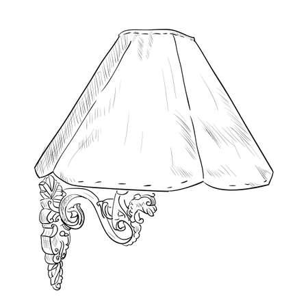 sconce: Vector el bosquejo de la l�mpara de pared. Ilustraci�n drenaje de la mano.