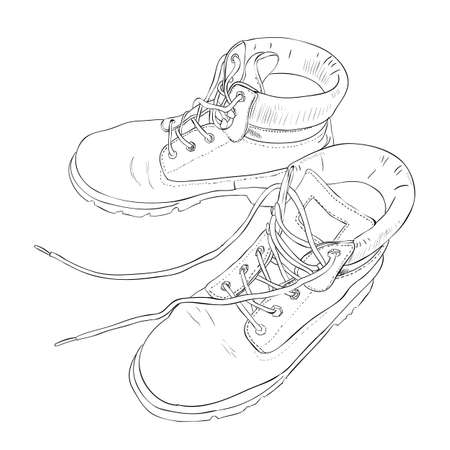 army boots: Hand drawn sketch with army boots. Vector illustration