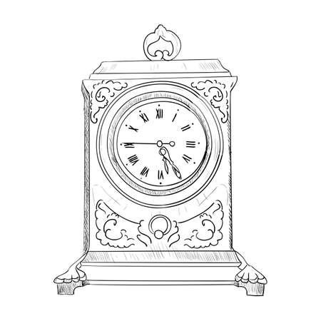Vector sketch of clock. Hand draw illustration. Фото со стока - 43440129